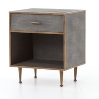 Hollywood Modern Shagreen Bedside Table - Antiqued Brass