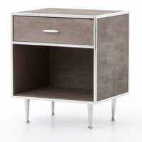 Hollywood Modern Shagreen Bedside Table - Silver