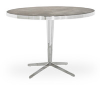 Hollywood Modern Shagreen Round Dining Table - Silver