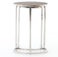Hollywood Modern Shagreen Nesting Tables - Silver