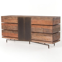 Quincy Industrial Reclaimed Wood 6 Drawer Dresser