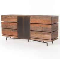 Quincy Industrial Reclaimed Wood 6 Drawer Dresser