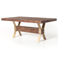 Lucian Reclaimed Wood Dining Table with Brass Legs