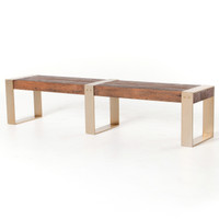 Reece Reclaimed Wood Dining Bench with Brass Legs
