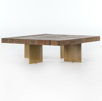 Alec Reclaimed Wood Square Coffee Table with Brass Legs