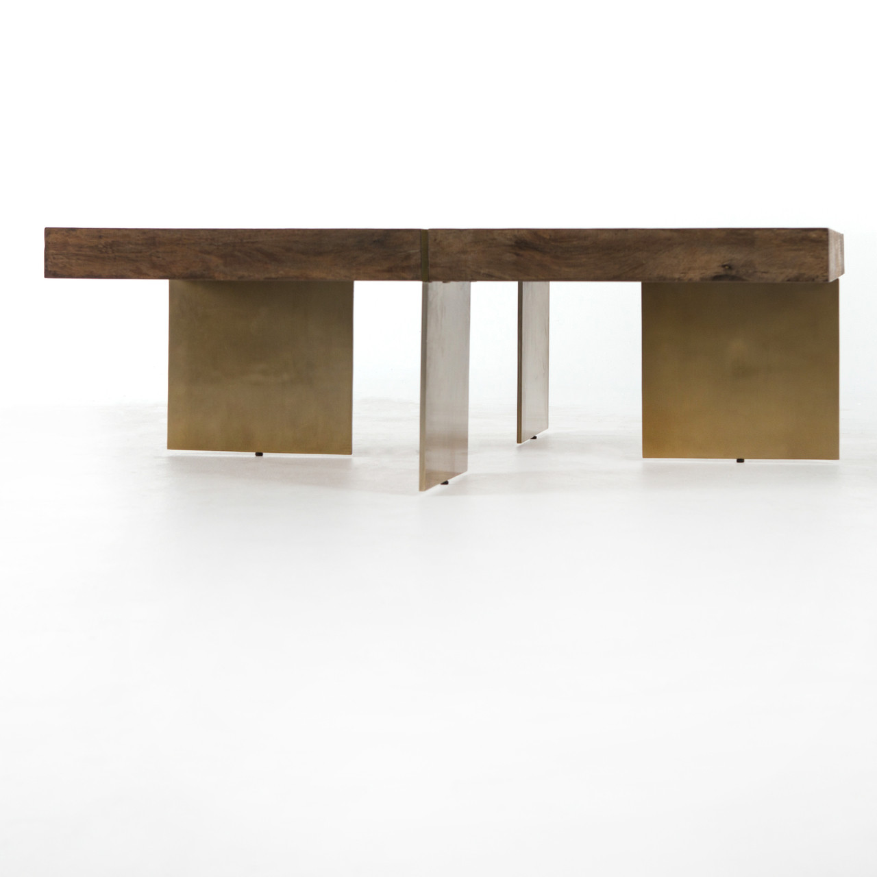 Vedel Industrial Loft Zinc Wood Rectangle Coffee Table: Alec Reclaimed Wood Square Coffee Table With Brass Legs