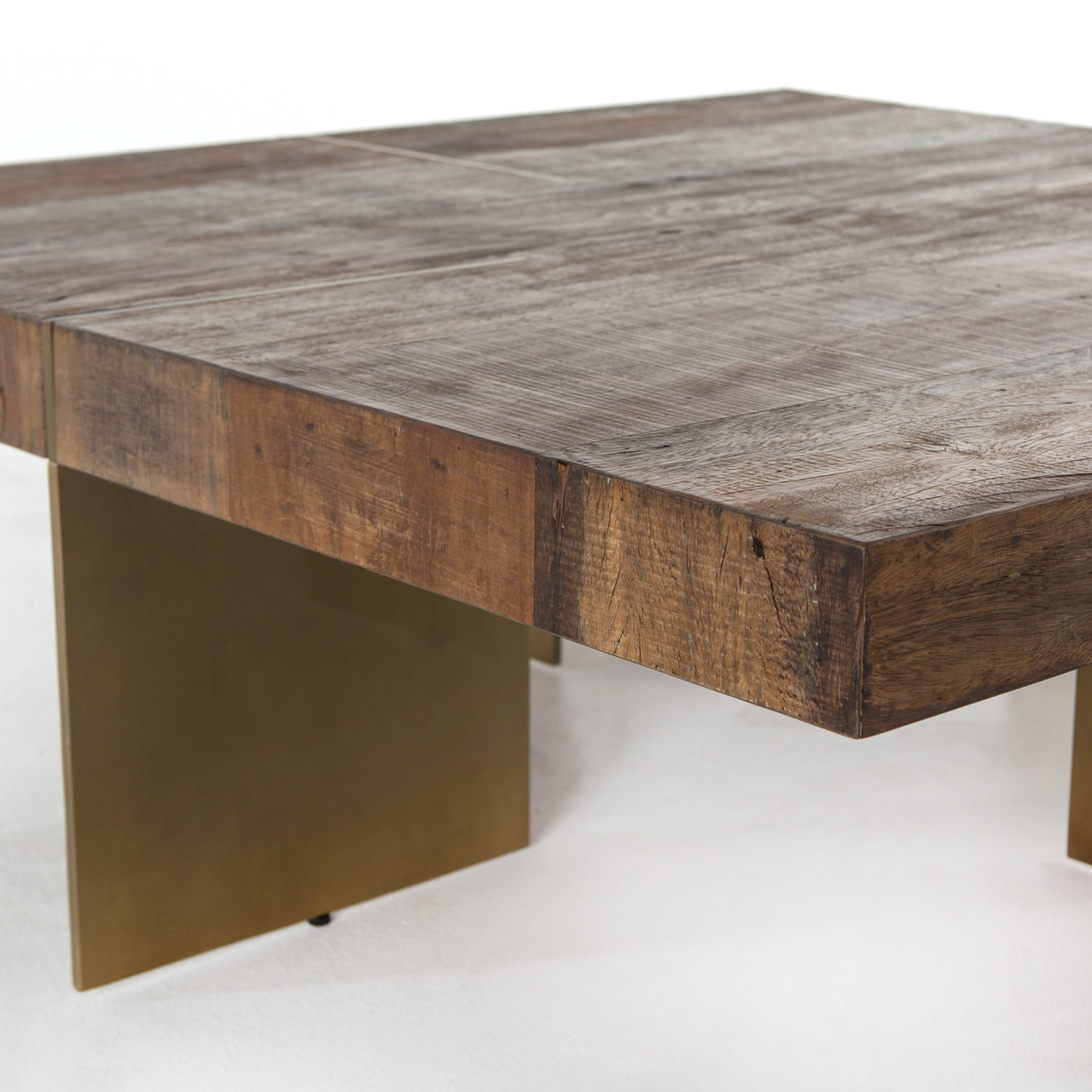 alec reclaimed wood square coffee table with brass legs | zin home