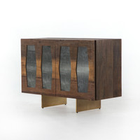 Berlin Reclaimed Wood 2 Door Console - Brass Legs
