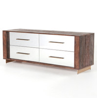 Evan Reclaimed Wood Mirrored 4 Drawer Dresser