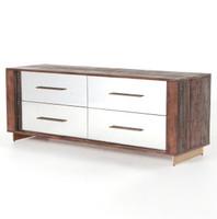 Evan Reclaimed Wood Mirrored 4 Drawer Dresser