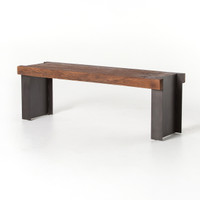 I Beam Industrial Metal and Reclaimed Wood Bench