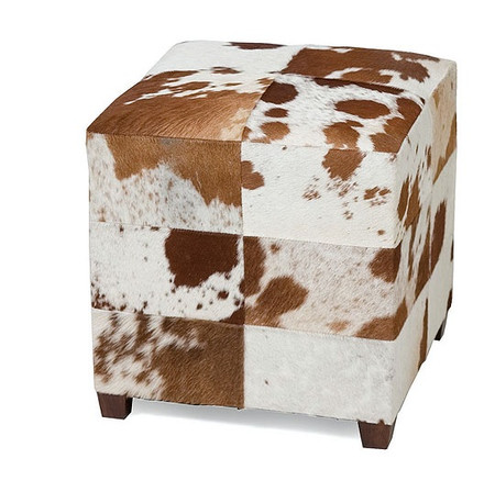 Remington Square Cowhide Ottoman Zin Home