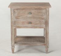 Parisian Vintage Grey Oak 2 Drawer Nightstand