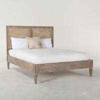 Parisian Vintage Grey Oak Queen Platform Bed