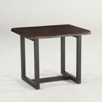 Live Edge Solid Wood & Iron Side Table