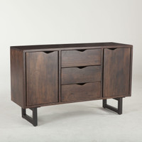Live Edge Solid Wood & Iron Buffet Sideboard 54""