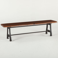 London Live Edge Wood & Cast Iron Dining Bench 68""