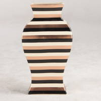 Hand-Painted Striped Ceramic Vase