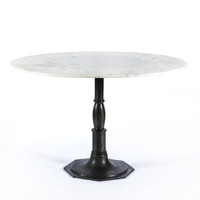French Industrial White Marble Round Dining Table 48""