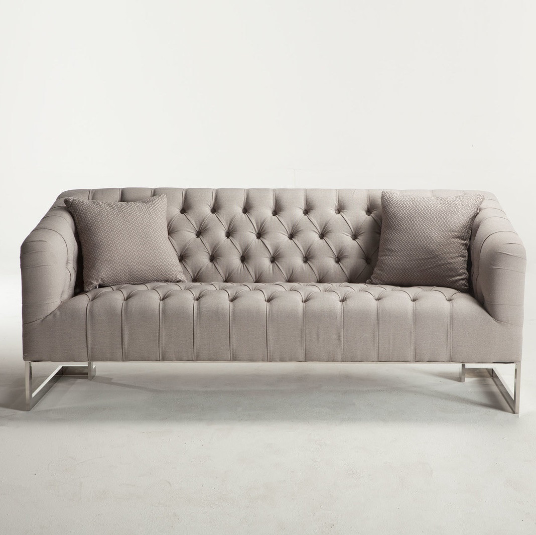 Modern Sofas: Austin Modern Tufted Sofa - Grey