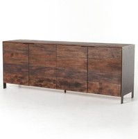 Cassidy Reclaimed Peroba + Bronze Metal 4 Door Sideboard