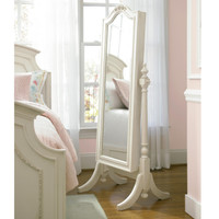 Rosalie White Standing Mirror with Jewelry Storage