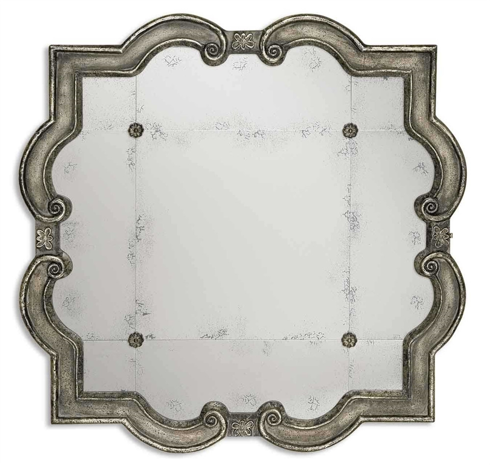 Uttermost prisca distressed silver mirror small for Small silver mirror