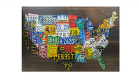 Wood License Plate USA Map
