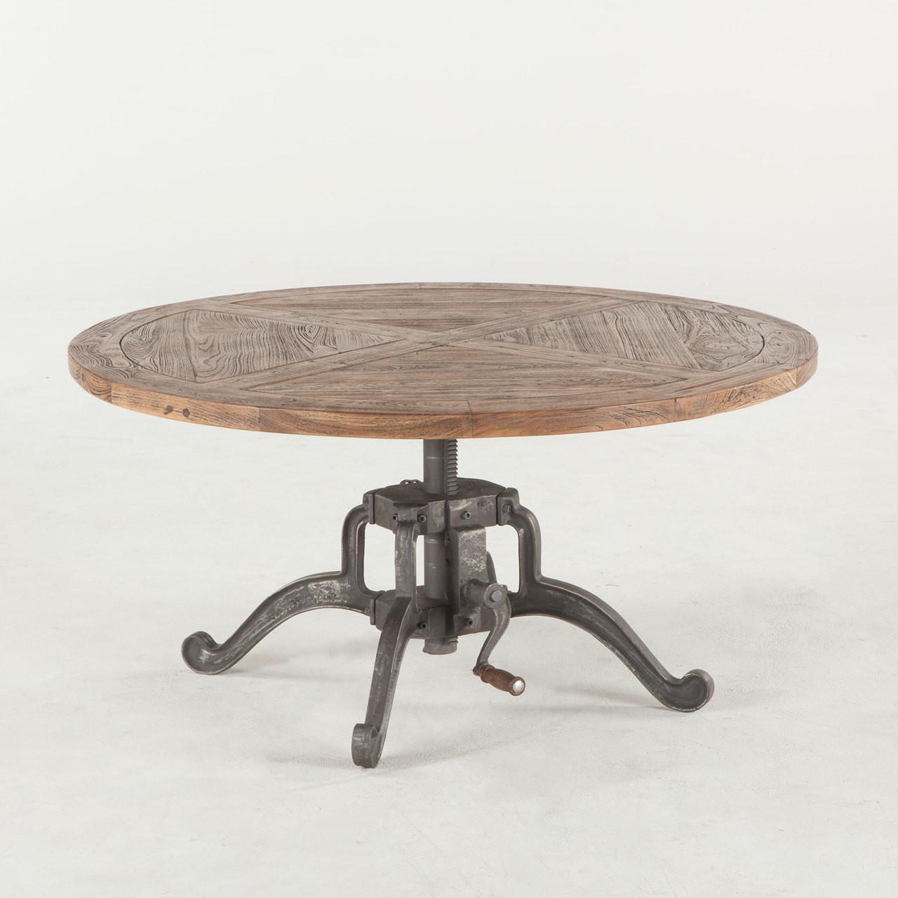"steampunk industrial crank adjustable round coffee table 42""   zin"