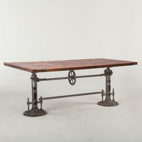 Steampunk Industrial + Reclaimed Wood Crank Dining Table 82""