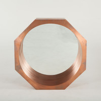 "Steampunk Industrial Octagonal Mirror 34""- Copper"