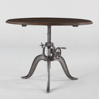 Steampunk Industrial Wood Top Round Crank Table 46""