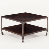 Steampunk Industrial Loft Iron + Wood Square Coffee Table 30""