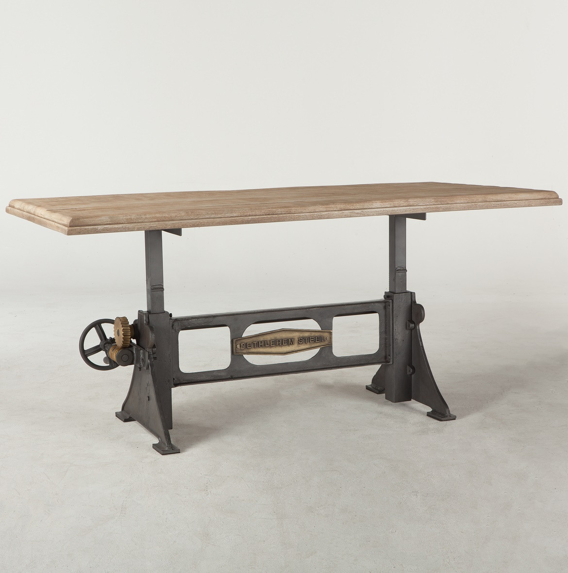 steampunk industrial steel + wood crank dining table 72"