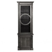 Parisian Vintage Oak Narrow Display Cabinet - Gray
