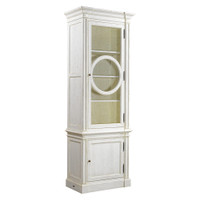Parisian Vintage Oak Narrow Display Cabinet - White