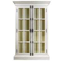 Parisian Casement Double Door Oak Display Cabinet - White