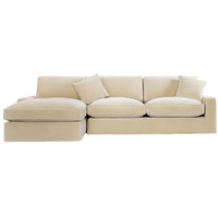 Casual Sand Velvet Upholstered Sectional Sofa - Left Facing