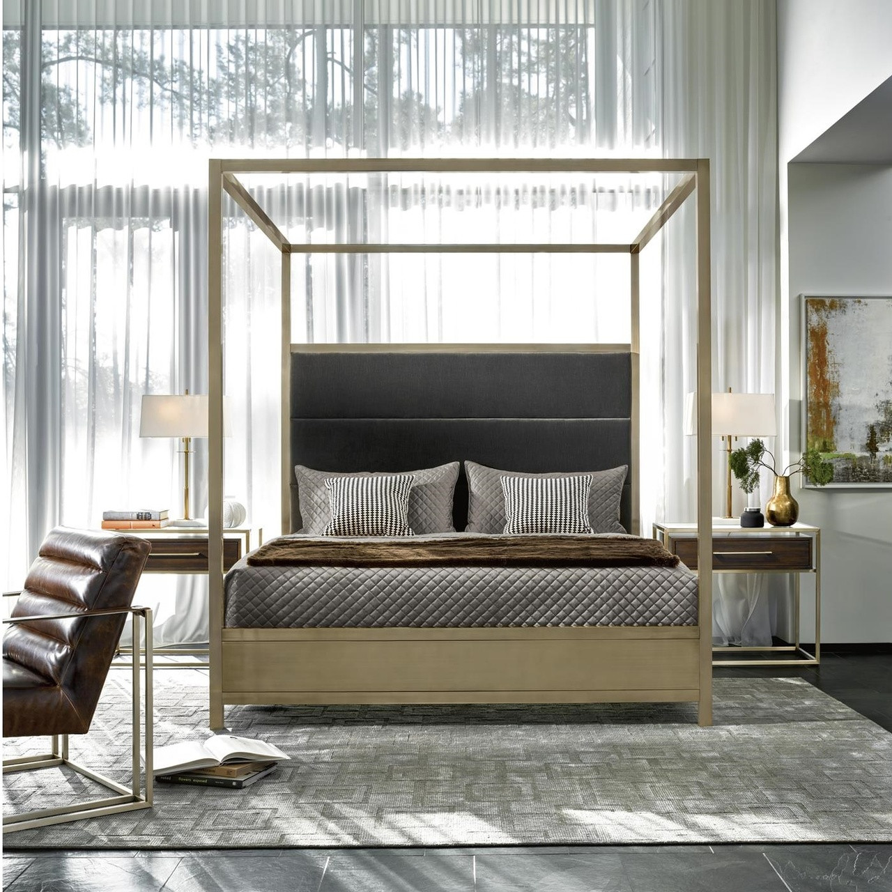 Modern Hollywood Regency Brass California King Canopy Bed
