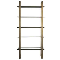 Modern Hollywood Regency Glass Shelf Etagere Bookshelf