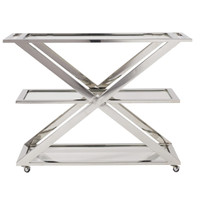 Modern Hollywood Regency Bar Cart - Nickel