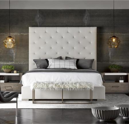 Modern Box Tufted Panel Upholstered Fabric Platform King