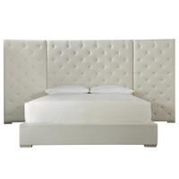 Modern Box-Tufted Extended Headboard Fabric Platform Bed - Queen