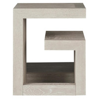 Modern Grey Oak Huston Geometric Bedside Table