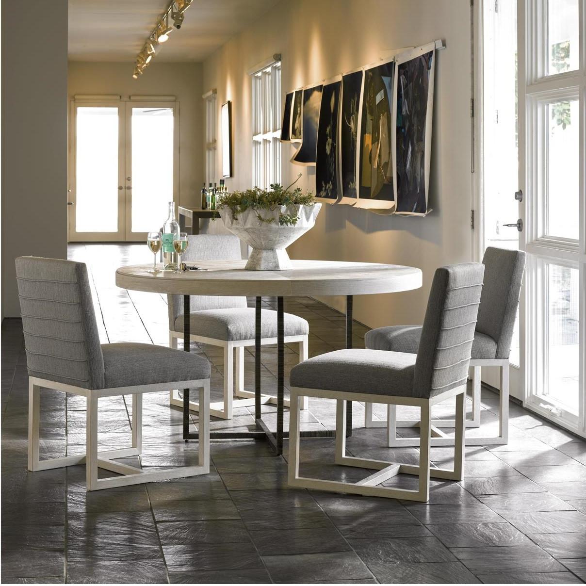 Modern Grey Oak Wood + Bronze Metal Leg Round Dining Table ...