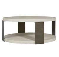 Modern Grey Oak Wood + Bronze Metal Wilder Round Cocktail Table