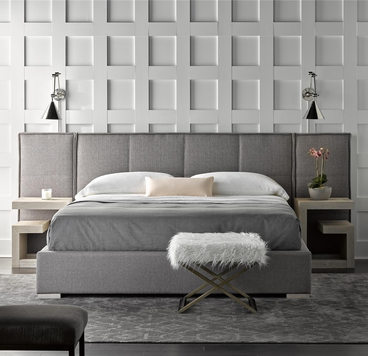 Connery Modern Gray Fabric Upholstered Extended Headboard