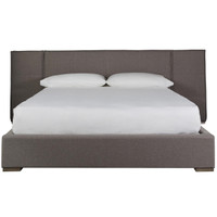 Connery Modern Gray Fabric Upholstered Extended Headboard King Platform Bed