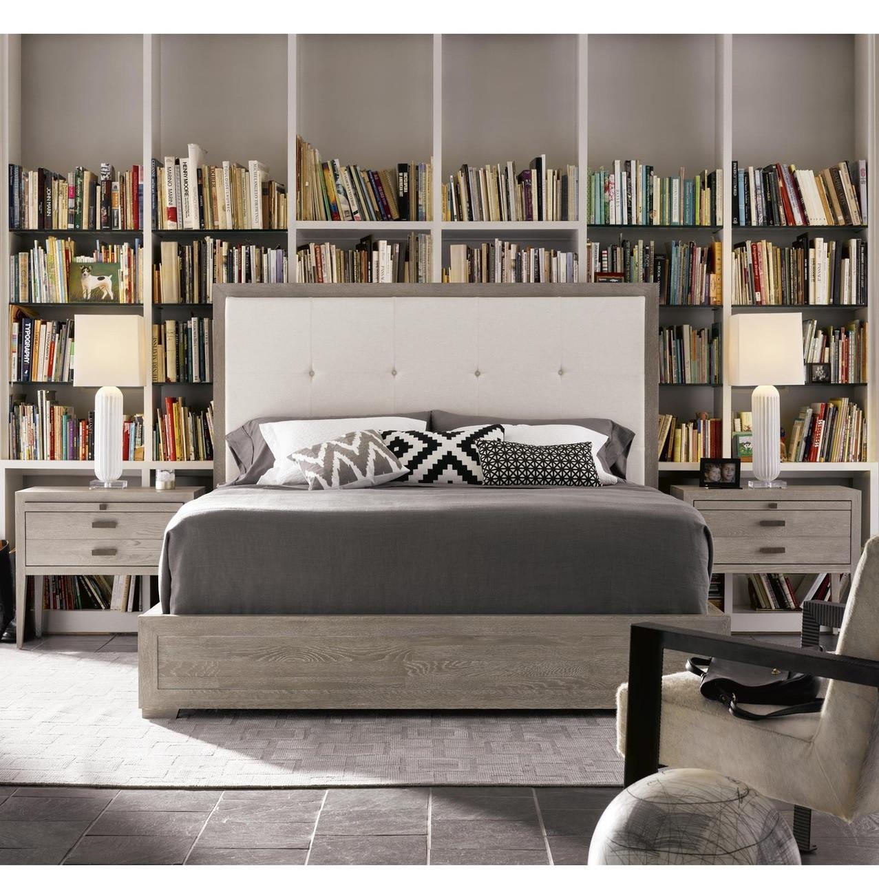 Queen platform bed with headboard - Nolan Modern Grey Oak Tufted Headboard Queen Platform Bed