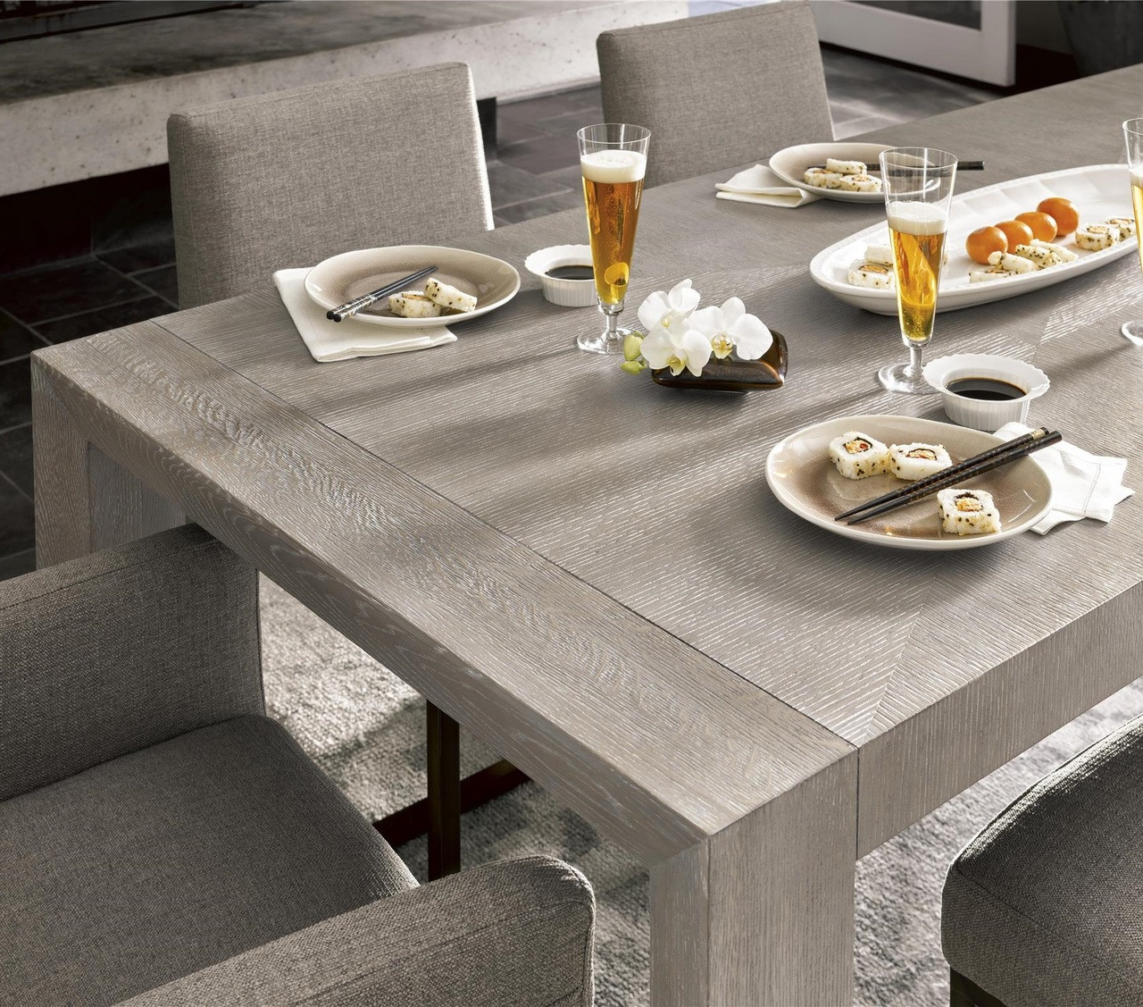 "Modern Wood Dining Room Tables: Langston Modern Grey Oak Wood Dining Room Table 84"""